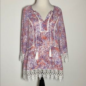 New Directions Paisley Boho Top, Size S, Like New